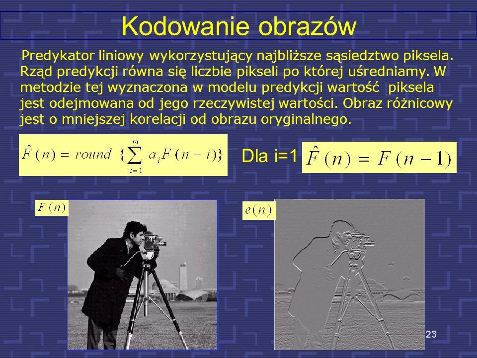Kodowanie obrazów - bezstratna metoda predykcyjna KODOWANIE PREDYKTOR KODER SYMBOLI - + Strumień wejściowy obrazu Obraz po kompresji DEKODER SYMBOLI P