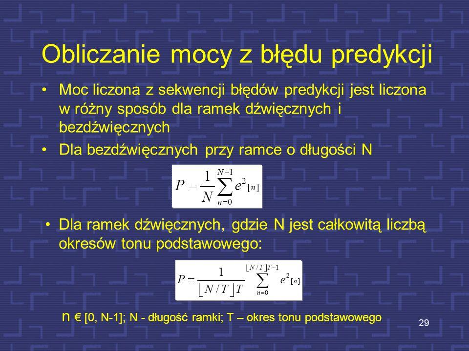Struktura kodera LPC 1.Sygnał mowy jest segmentowany na nie zachodzące na siebie ramki 2.Sygnał jest poddawany preemfazie, by wyrównać obwiednię widma