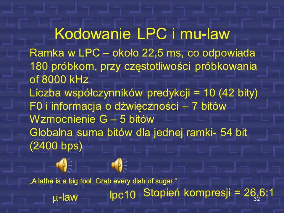 Przebieg zmian pierwszego współczynnika LPC - 1 i e[n] 31