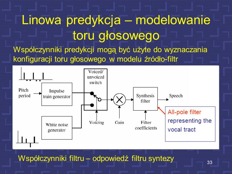 Kodowanie LPC i mu-law 32 Ramka w LPC – około 22,5 ms, co odpowiada 180 próbkom, przy częstotliwości próbkowania of 8000 kHz Liczba współczynników pre