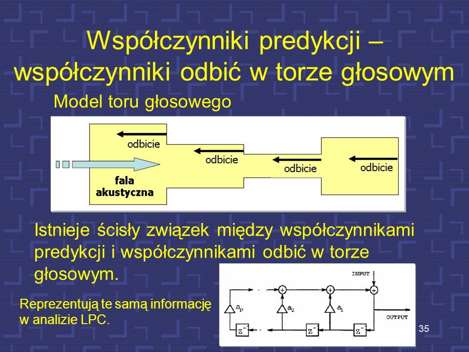 Model toru głosowego złożony z wielu odcinków cylindrycznych 34 W torze głosowym funkcja przekroju jest zmienna w czasie podczas mówienia. Dla wielu d