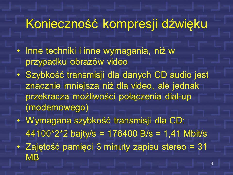 Konieczność kompresji dźwięku Inne techniki i inne wymagania, niż w przypadku obrazów video Szybkość transmisji dla danych CD audio jest znacznie mniejsza niż dla video, ale jednak przekracza możliwości połączenia dial-up (modemowego) Wymagana szybkość transmisji dla CD: 44100*2*2 bajty/s = 176400 B/s = 1,41 Mbit/s Zajętość pamięci 3 minuty zapisu stereo = 31 MB 4