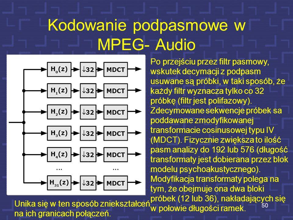 16 bits Szum kwantyzacji 12 bitów Przydział bitów z uwzglęnieniem szumów kwantyzacji Poziom ciśnienia akustycznego [dB] 80 70 60 50 40 30 20 10 0 -10