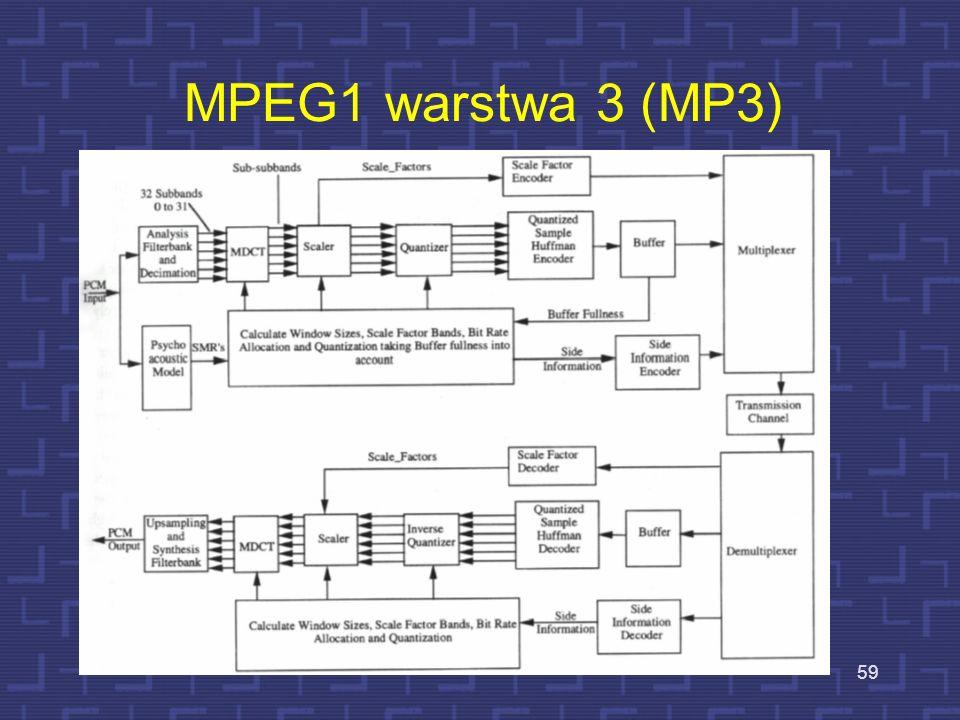 Dodatkowa informacja poboczna Sygnał audio jest przetwarzany w ciągi dyskretnych bloków próbek – bloki te są nazywane ramkami Każda ramka (24 ms = 115