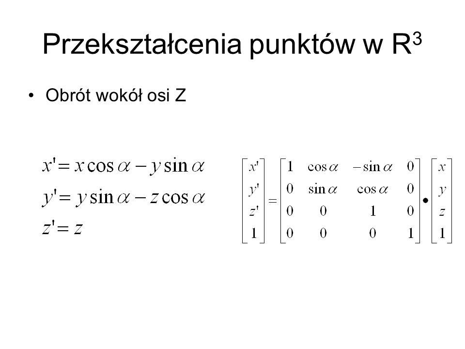 Przekształcenia punktów w R 3 Obrót wokół osi Z