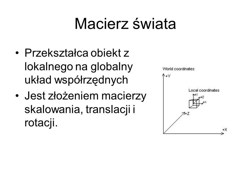 Macierz świata Przekształca obiekt z lokalnego na globalny układ współrzędnych Jest złożeniem macierzy skalowania, translacji i rotacji.