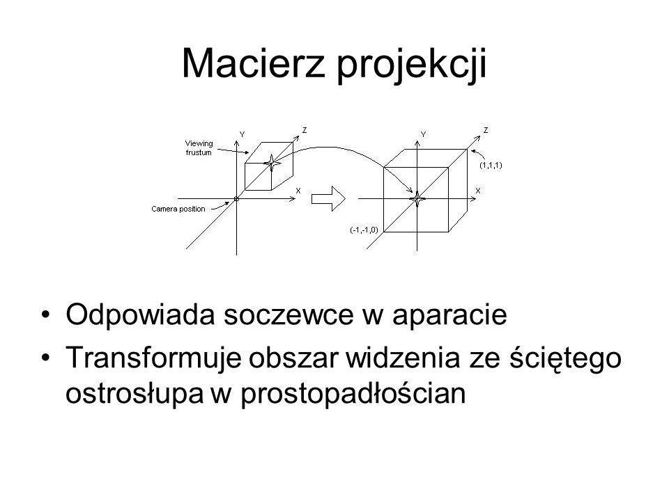 Macierz projekcji Odpowiada soczewce w aparacie Transformuje obszar widzenia ze ściętego ostrosłupa w prostopadłościan