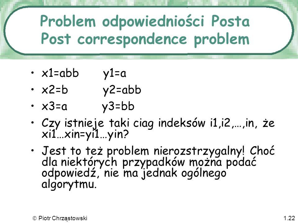 Piotr Chrząstowski1.21 Problem stopu Czy dla konkretnych danych i konkretnego programu maszyna Turinga zatrzyma się Problem stopu jest nierozstrzygaln