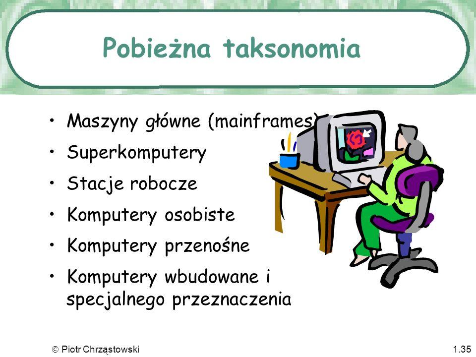 Piotr Chrząstowski1.34 Czwarta generacja Lata 70-te do dziś Zestawy przełączników zastąpione jednym mikroprocesorem Cena tak spadła, że stały się dost