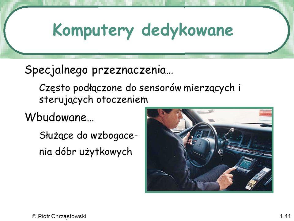 Piotr Chrząstowski1.40 Komputery przenośne Laptopy, notebooki –Komputery płaskoekranowe zasilane baterią i lekkie Palmtopy –Komputery kieszonkowe o zn