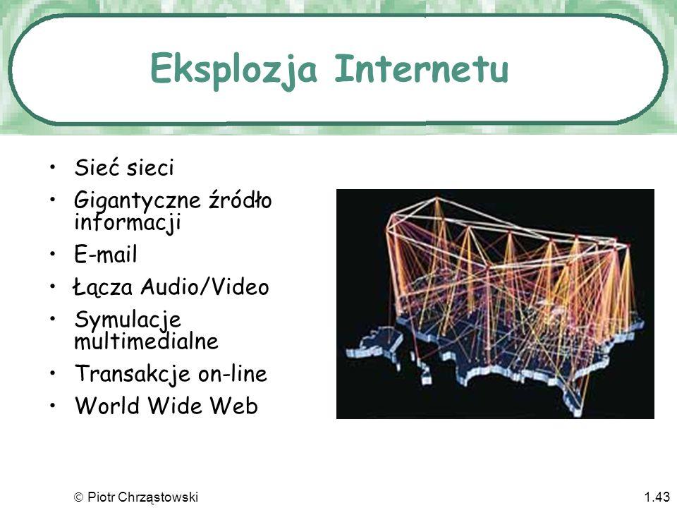 Piotr Chrząstowski1.42 Sieci komputerowe Sieci lokalne (LAN) –Zaprojektowane aby dzielić zasoby –Umożliwiają komunikację między wieloma użytkownikami