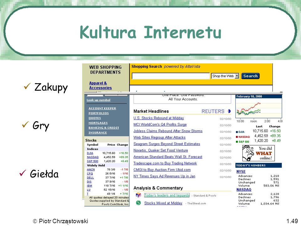 Piotr Chrząstowski1.48 Kultura Internetu Czemu ludzie łączą się z Intenetem? Aby wyszukać informację Aby przeglądać Aby uzyskać natychmiast odpowiedź