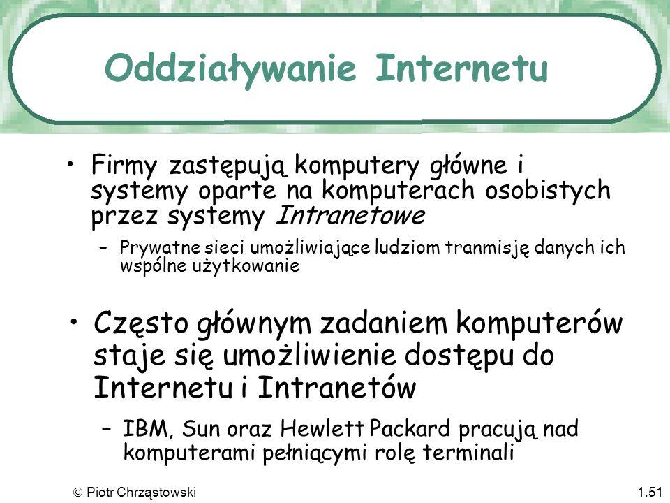 Piotr Chrząstowski1.50 Rozrost Internetu 1994? 3 miliony ludzi w Internecie Dziś? Ponad 2 miliardy USA oczywiście przoduje –W 1999 roku ok. 1/3 gospod