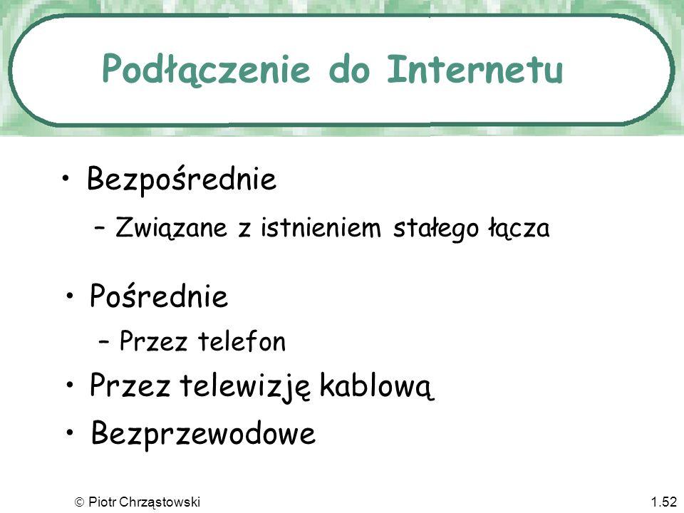 Piotr Chrząstowski1.51 Oddziaływanie Internetu Firmy zastępują komputery główne i systemy oparte na komputerach osobistych przez systemy Intranetowe –