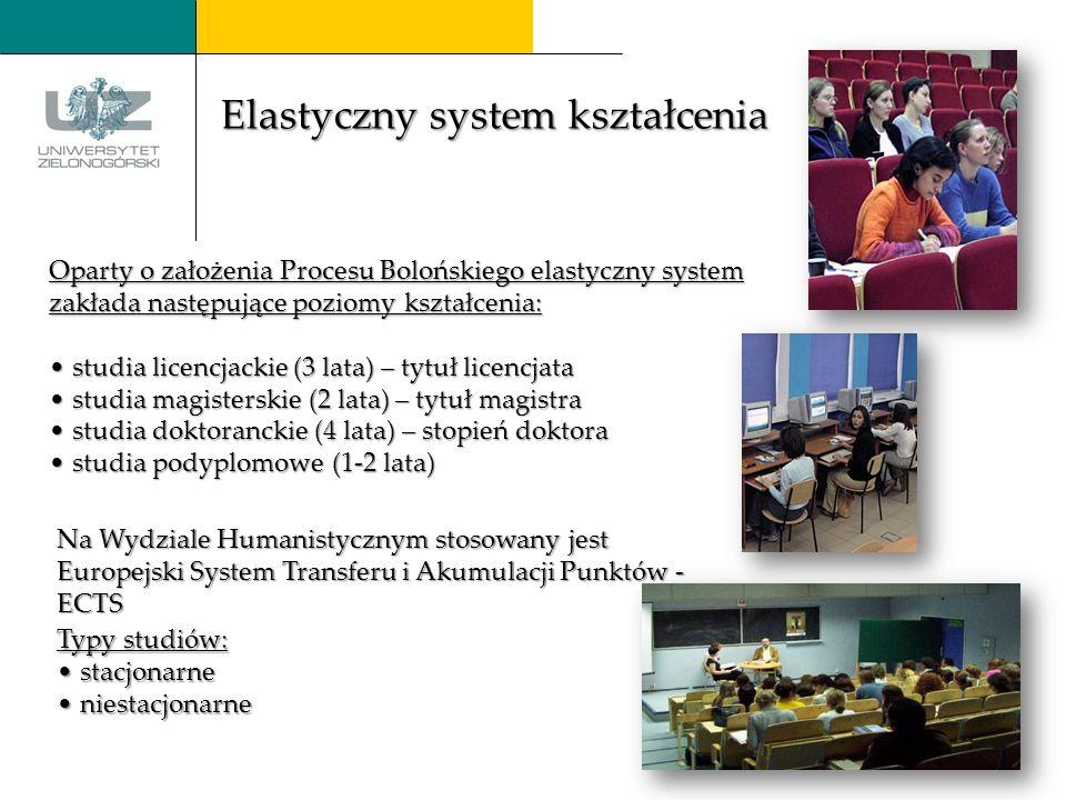 Oparty o założenia Procesu Bolońskiego elastyczny system zakłada następujące poziomy kształcenia: studia licencjackie licencjackie (3 lata) lata) – tytuł licencjata studia magisterskie magisterskie (2 (2 (2 (2 lata) lata) –tytuł magistra studia doktoranckie doktoranckie (4 lata) lata) – stopień doktora studia podyplomowe podyplomowe (1-2 lata) Typy Typy studiów: stacjonarne niestacjonarne Na Wydziale Humanistycznym stosowany jest Europejski System Transferu i Akumulacji Punktów - ECTS Elastyczny system kształcenia