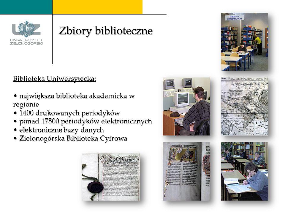 Biblioteka Uniwersytecka: największa biblioteka akademicka w regionie 1400 drukowanych periodyków ponad ponad 17500 periodyków elektronicznych elektroniczne bazy danych Zielonogórska Biblioteka Cyfrowa Zbiory biblioteczne