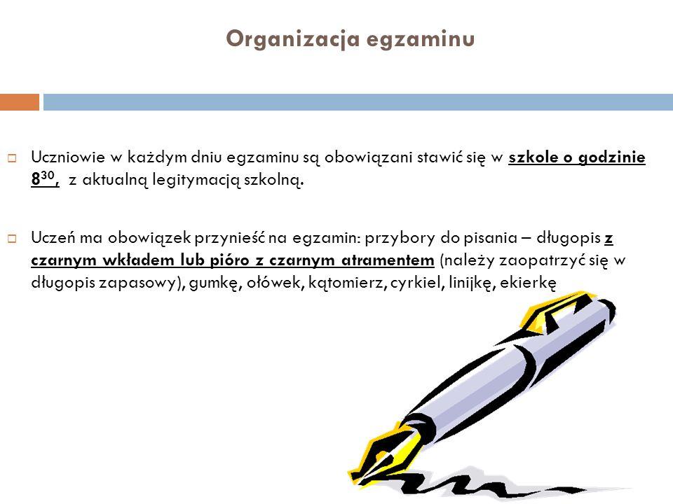 Organizacja egzaminu Na salę egzaminacyjną nie można wnosić żadnych urządzeń telekomunikacyjnych i nośników informacji elektronicznej.
