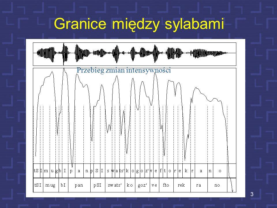 2 Sylaby fonetyczne Zmiany głośności między kolejnymi głoskami w strumieniu dźwięków mowy warunkują podział wypowiedzi na tzw. sylaby fonetyczne. Rdze