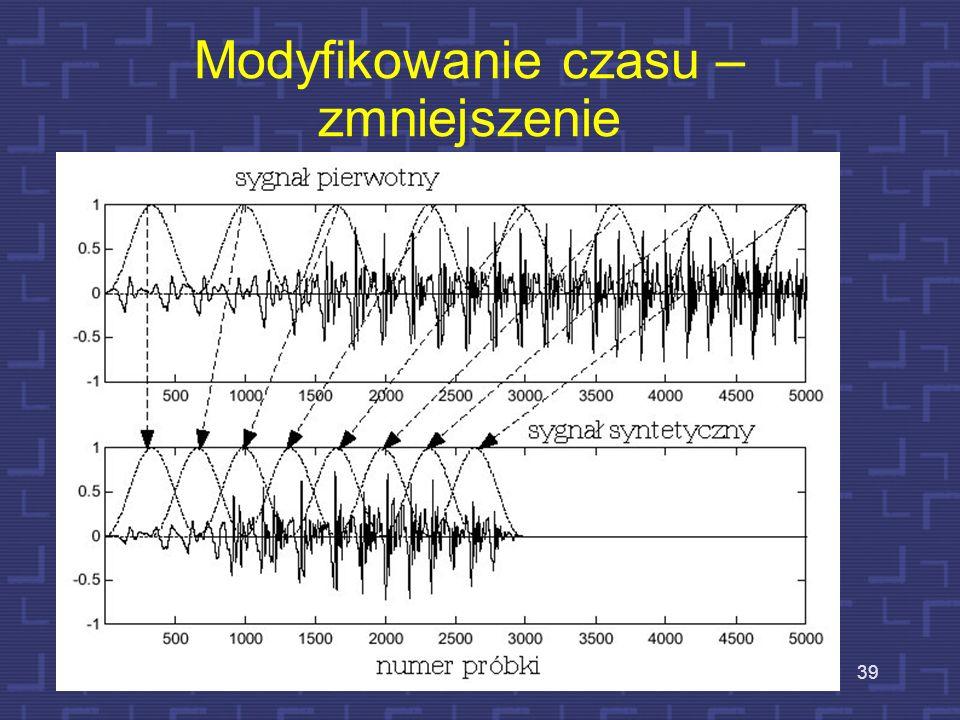 Zmiana skali czasu - zwiększenie Schematyczne przedstawienie odwzorowania osi czasu analizy w oś czasu syntezy 38