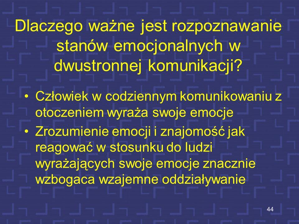 Uniwersalizm niektórych sposobów wyrażania stanów emocjonalnych Ekman wykazał, że niektóre stany emocjonalne są wyrażane w sposób niezależny od środow