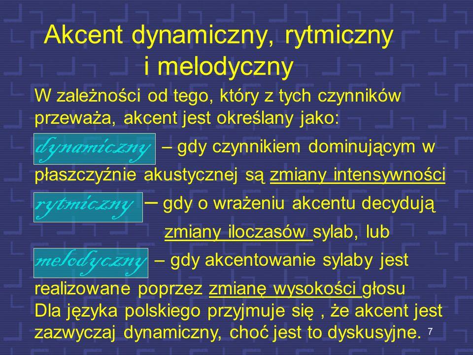6 Akcent wyrazowy Definicja akcentu: Jest to to proces uwydatniający wybrane segmenty w sygnale mowy ciągłej, np. sylab w wyrazach lub wyrazów w zdani