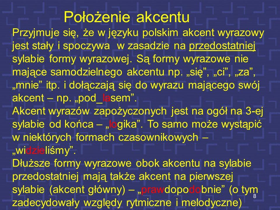 W zależności od tego, który z tych czynników przeważa, akcent jest określany jako: dynamiczny – gdy czynnikiem dominującym w płaszczyźnie akustycznej