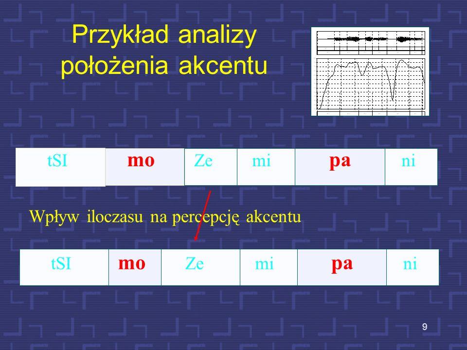8 Położenie akcentu Przyjmuje się, że w języku polskim akcent wyrazowy jest stały i spoczywa w zasadzie na przedostatniej sylabie formy wyrazowej. Są