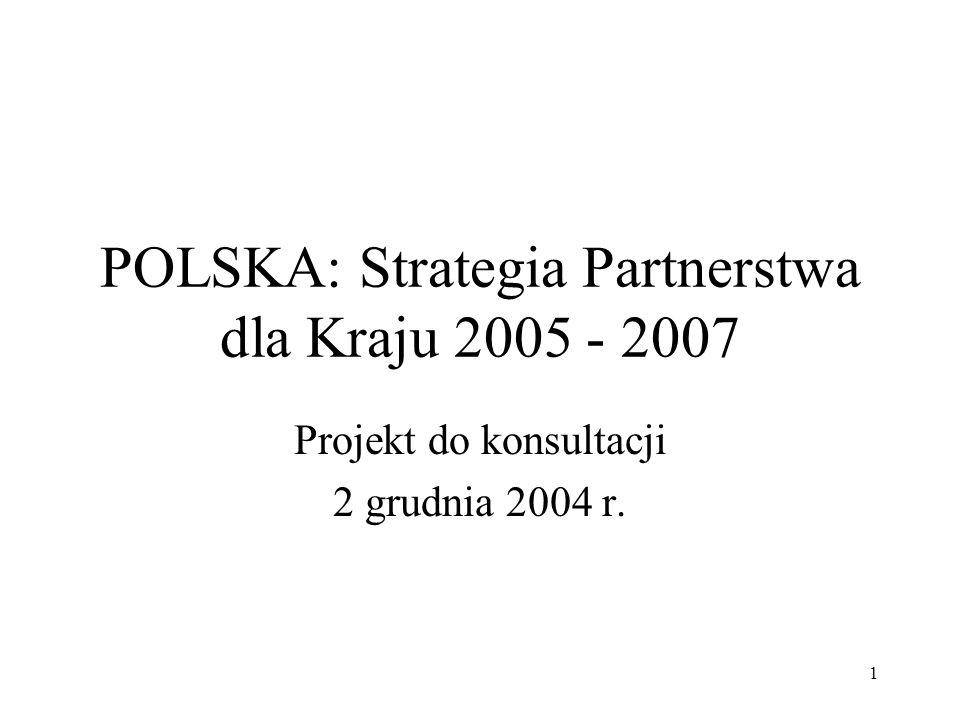 2 Spis Treści (1 z 2) I.Kontekst II.Strategia rozwojowa Polski Priorytety rozwoju Średnioterminowe wyzwania społeczno-ekonomiczne III.Polska a Bank Światowy Dotychczasowa współpraca i pożyczki Doświadczenia i uzasadnienie dalszego wsparcia Implikacje na przyszłość IV.Propozycja strategii Banku Światowego Zasady zaangażowania Podejście operacyjne Priorytety Wyniki Koordynacja działań z innymi partnerami