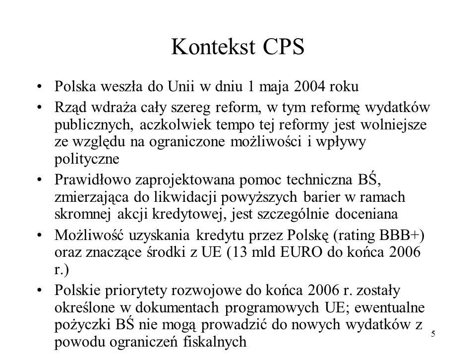36 Wsparcie BŚ dla Polski zgodne z Framework Paper Cele rozwojowe: Pomoc dla Polski w ukończeniu procesu transformacji i zapewnienie najpełniejszych ram dla trwałej i szybkiej konwergencji Promowanie długoterminowych celów rozwojowych, w tym - ograniczenie poziomu ubóstwa