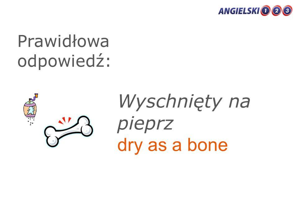 Prawidłowa odpowiedź: Wyschnięty na pieprz dry as a bone