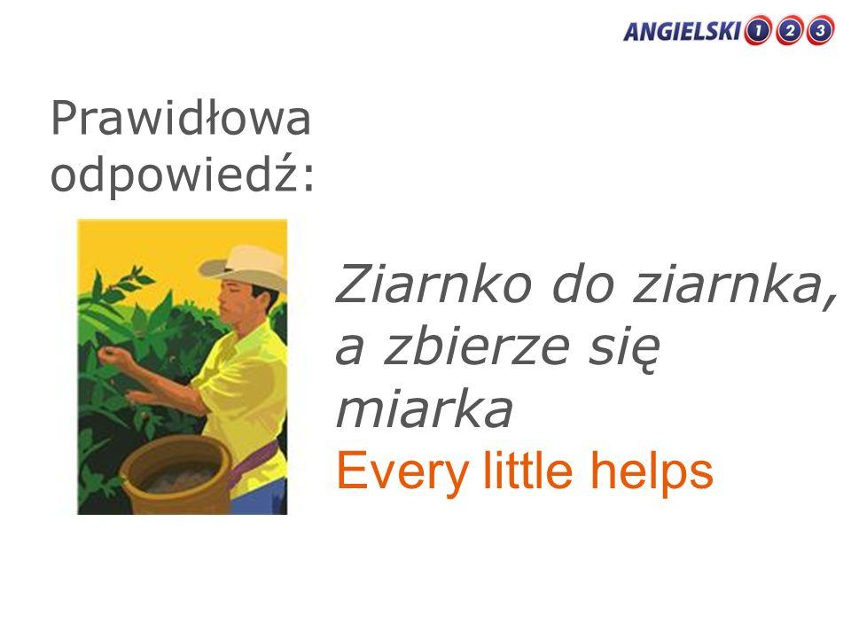 Prawidłowa odpowiedź: Ziarnko do ziarnka, a zbierze się miarka Every little helps