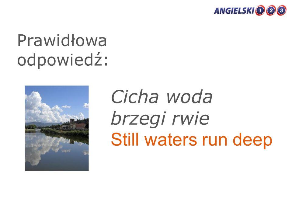 Prawidłowa odpowiedź: Cicha woda brzegi rwie Still waters run deep