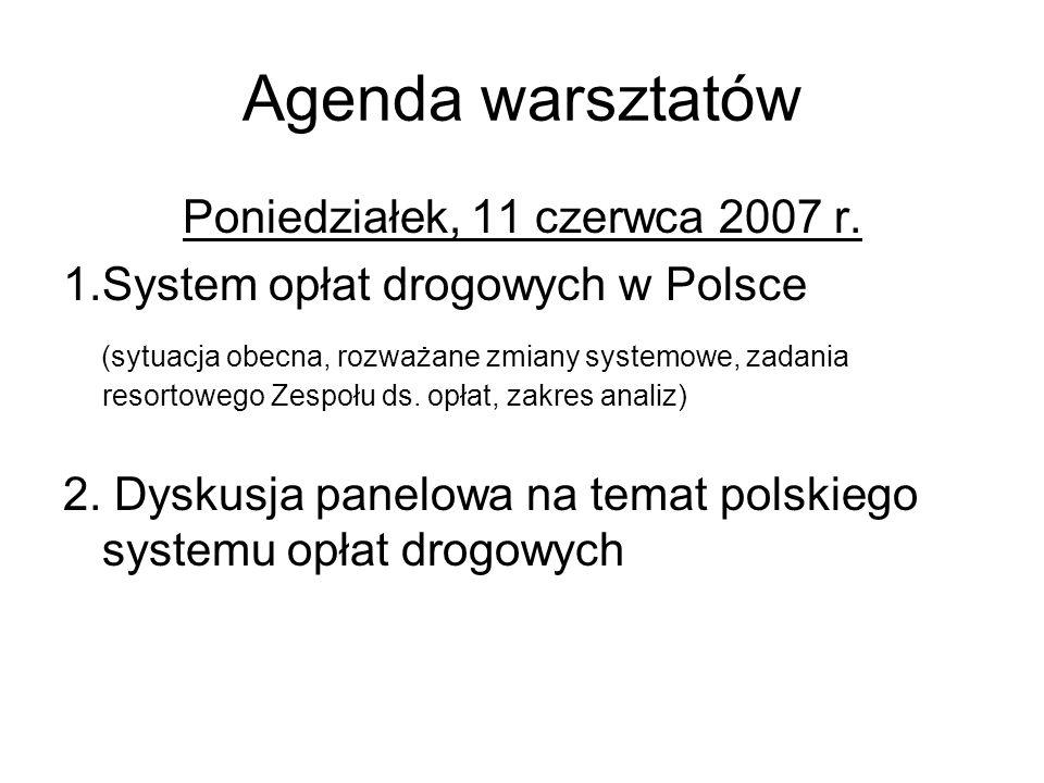 Agenda warsztatów Poniedziałek, 11 czerwca 2007 r.