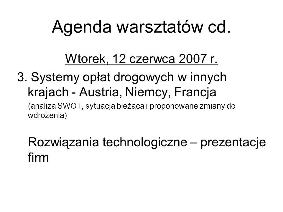 Agenda warsztatów cd. Wtorek, 12 czerwca 2007 r. 3.