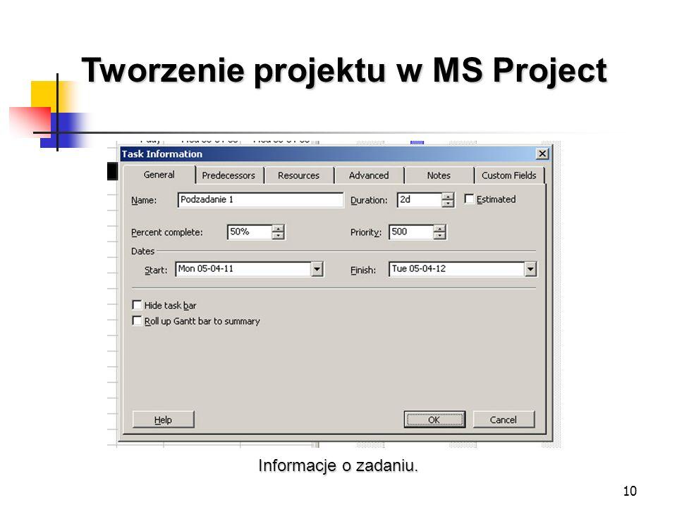 10 Tworzenie projektu w MS Project Informacje o zadaniu.