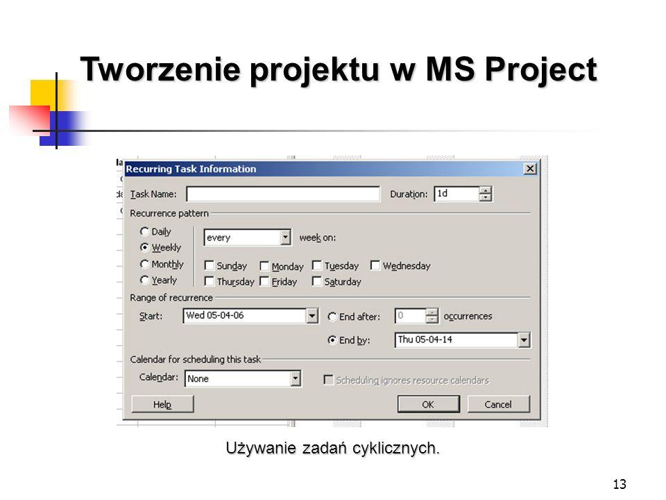 13 Tworzenie projektu w MS Project Używanie zadań cyklicznych.