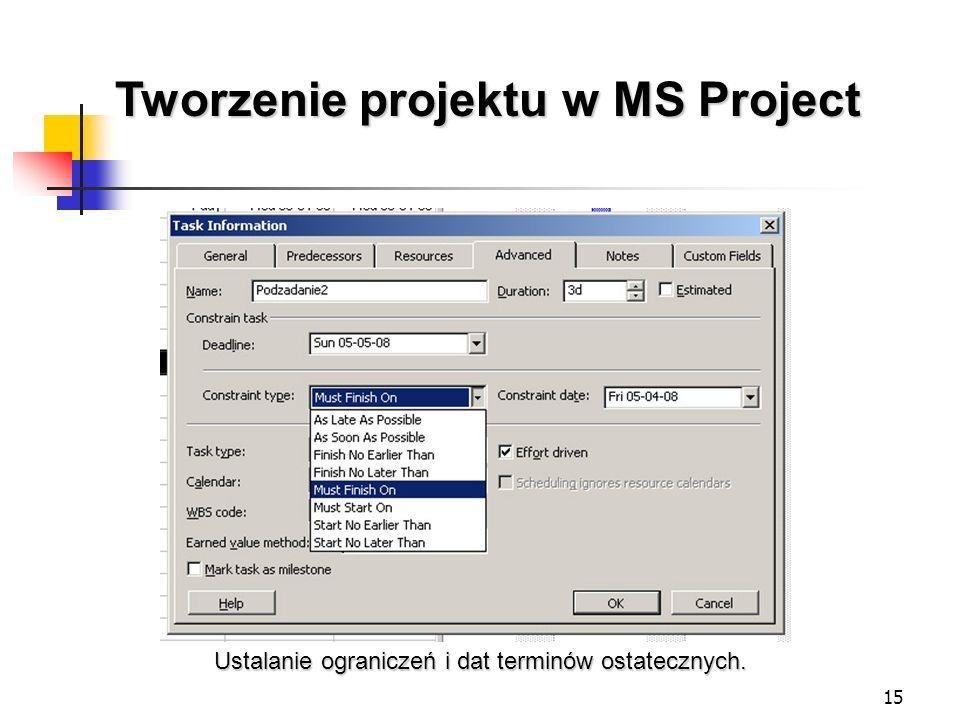 15 Tworzenie projektu w MS Project Ustalanie ograniczeń i dat terminów ostatecznych.