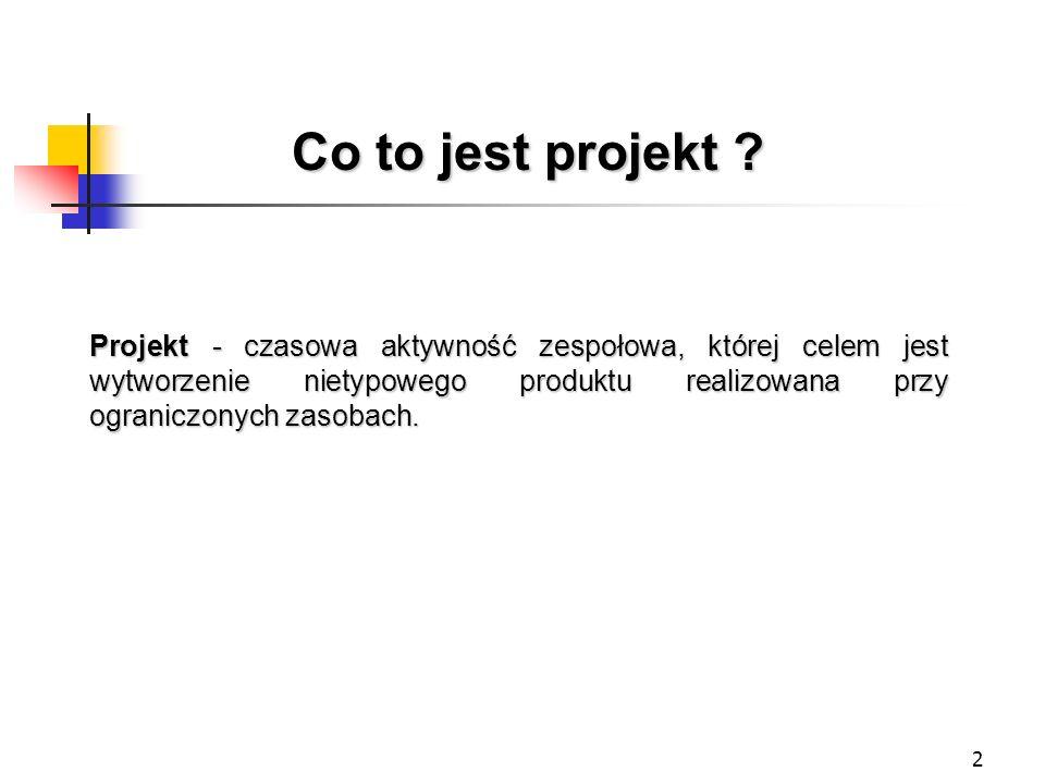 2 Projekt - czasowa aktywność zespołowa, której celem jest wytworzenie nietypowego produktu realizowana przy ograniczonych zasobach. Co to jest projek