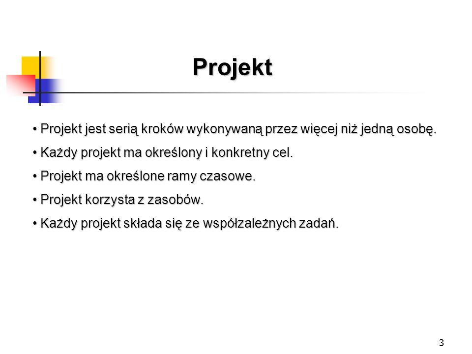 3 Projekt Projekt jest serią kroków wykonywaną przez więcej niż jedną osobę. Projekt jest serią kroków wykonywaną przez więcej niż jedną osobę. Każdy