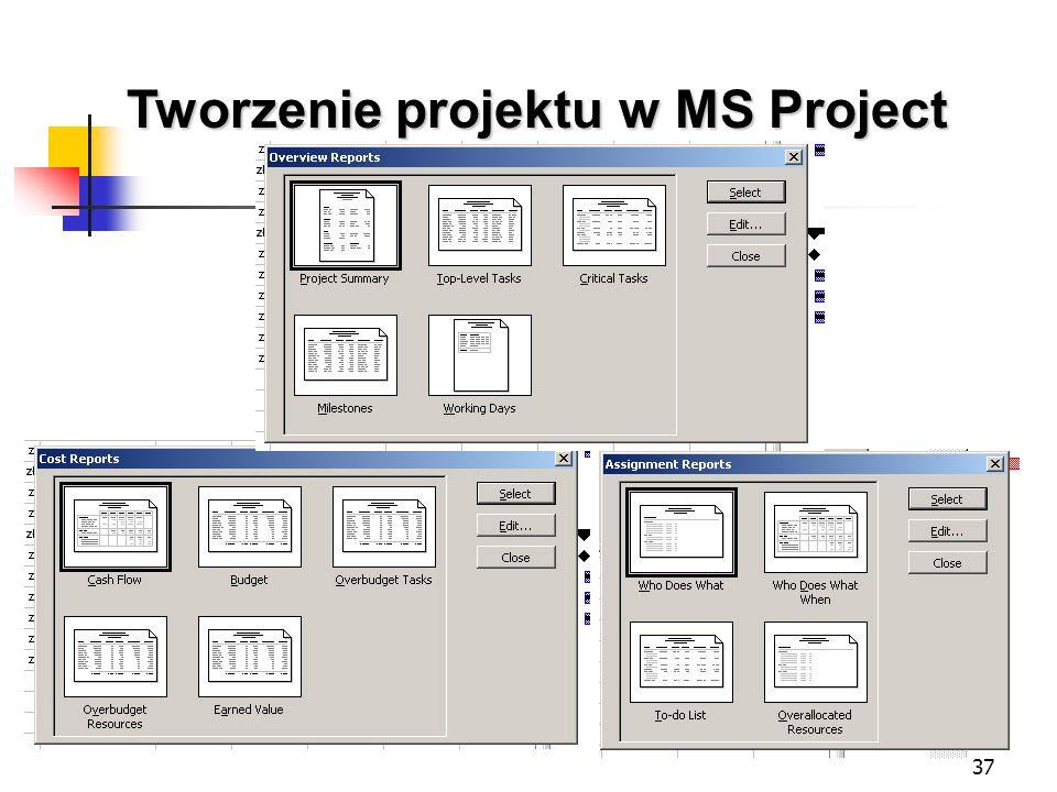 37 Tworzenie projektu w MS Project