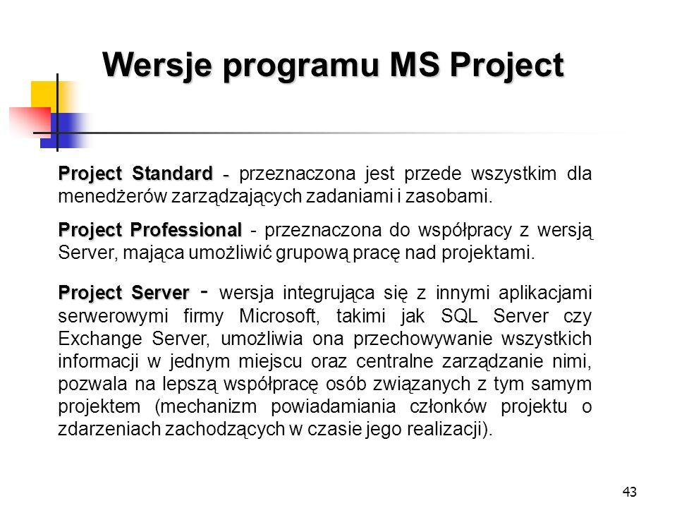43 Wersje programu MS Project Project Standard - Project Standard - przeznaczona jest przede wszystkim dla menedżerów zarządzających zadaniami i zasob