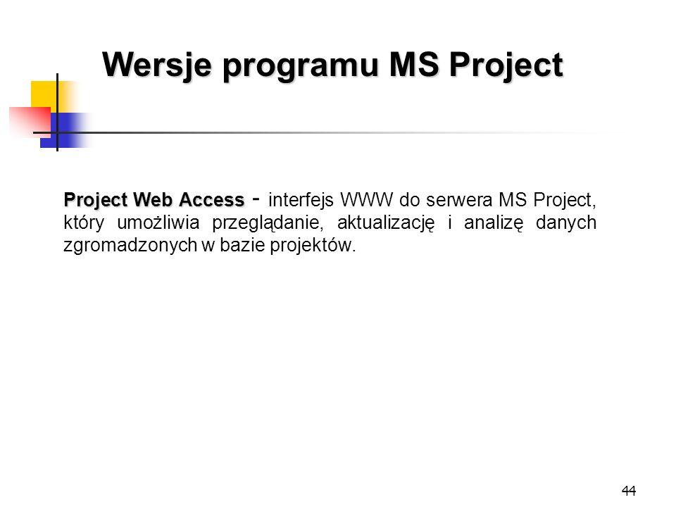 44 Wersje programu MS Project Project Web Access Project Web Access - interfejs WWW do serwera MS Project, który umożliwia przeglądanie, aktualizację