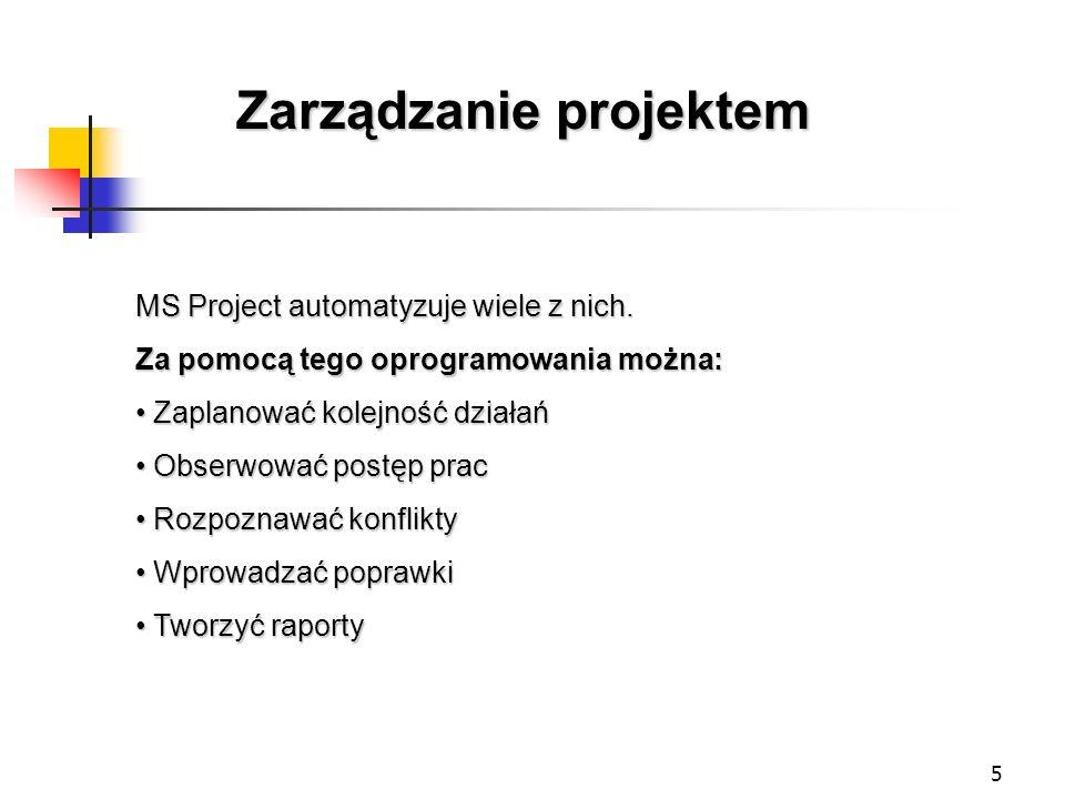 5 Zarządzanie projektem MS Project automatyzuje wiele z nich. Za pomocą tego oprogramowania można: Zaplanować kolejność działań Zaplanować kolejność d