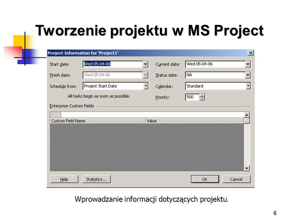 27 Tworzenie projektu w MS Project Przegląd kosztów projektu.