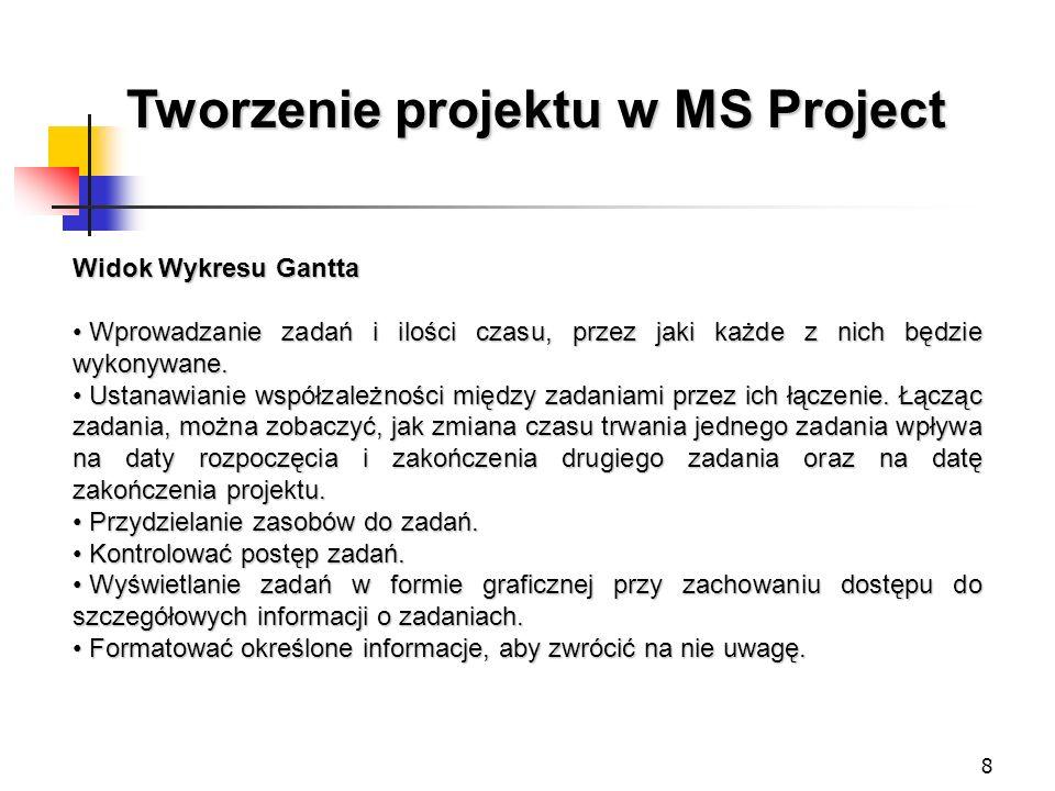 8 Tworzenie projektu w MS Project Widok Wykresu Gantta Wprowadzanie zadań i ilości czasu, przez jaki każde z nich będzie wykonywane. Wprowadzanie zada