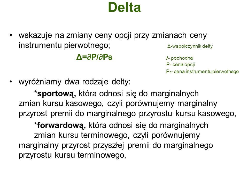 delta sportowa jest równa wartości bieżącej delty forwardowej, która pokazuje rzeczywistą wrażliwość opcji na wahania kursu terminowego; jest najważniejszym współczynnikiem wykorzystywanym przy zabezpieczaniu opcji walutowych; mówi jakie jest teoretyczne prawdopodobieństwo osiągnięcia zysku na opcji w procentach; opcja kupna ma deltę dodatnią, a opcja sprzedaży deltę ujemną; podawana jest w procentach.