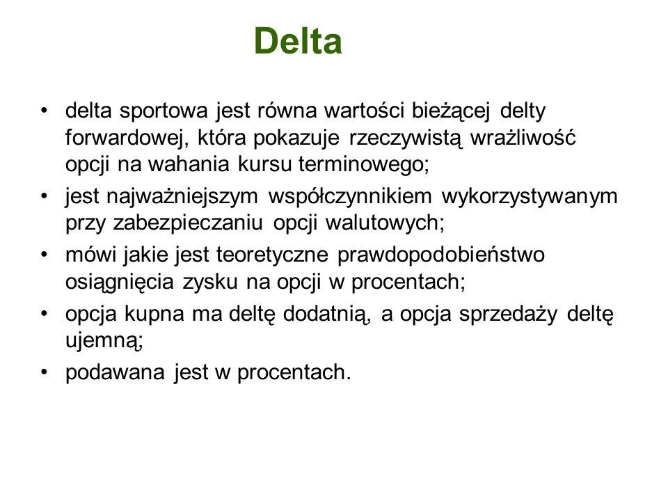 delta sportowa jest równa wartości bieżącej delty forwardowej, która pokazuje rzeczywistą wrażliwość opcji na wahania kursu terminowego; jest najważni