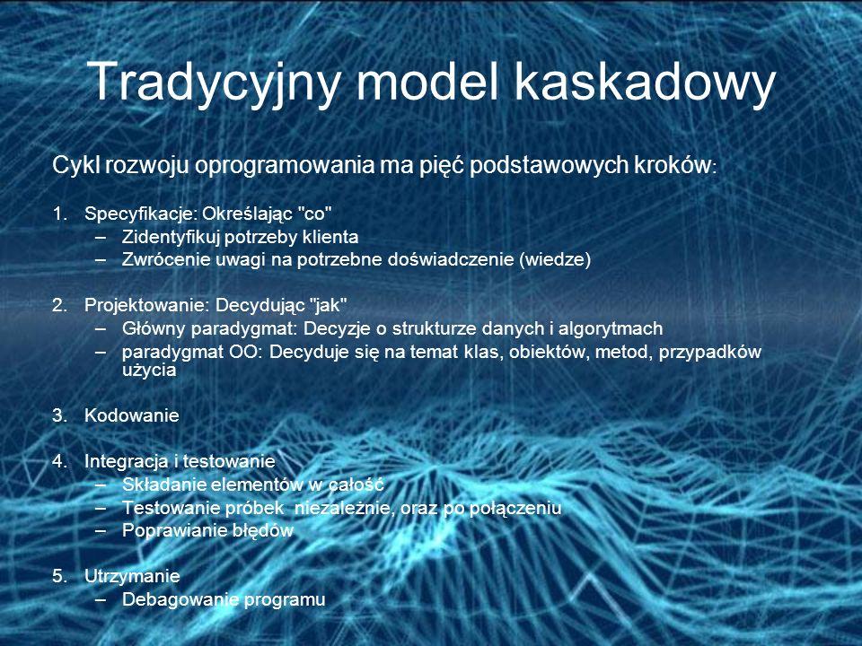 Tradycyjny model kaskadowy Cykl rozwoju oprogramowania ma pięć podstawowych kroków : 1.Specyfikacje: Określając co –Zidentyfikuj potrzeby klienta –Zwrócenie uwagi na potrzebne doświadczenie (wiedze) 2.Projektowanie: Decydując jak –Główny paradygmat: Decyzje o strukturze danych i algorytmach –paradygmat OO: Decyduje się na temat klas, obiektów, metod, przypadków użycia 3.Kodowanie 4.Integracja i testowanie –Składanie elementów w całość –Testowanie próbek niezależnie, oraz po połączeniu –Poprawianie błędów 5.Utrzymanie –Debagowanie programu