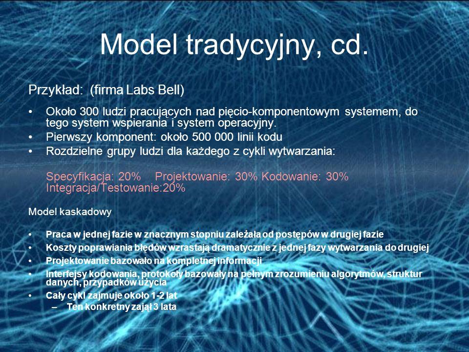 Model tradycyjny, cd. Przykład: (firma Labs Bell) Około 300 ludzi pracujących nad pięcio-komponentowym systemem, do tego system wspierania i system op