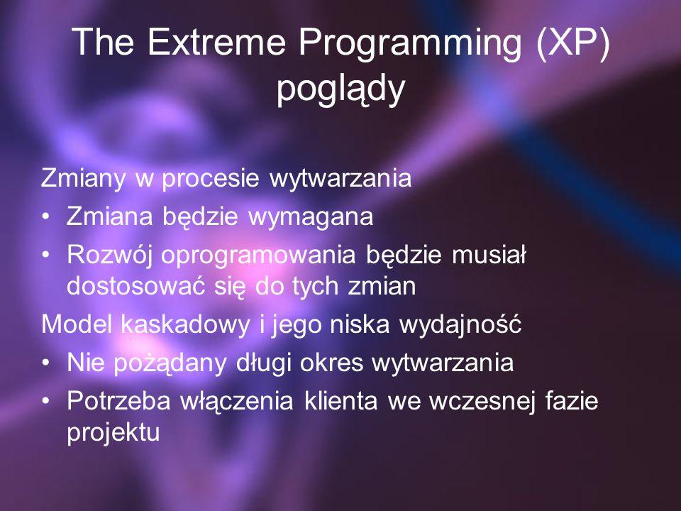 The Extreme Programming (XP) poglądy Zmiany w procesie wytwarzania Zmiana będzie wymagana Rozwój oprogramowania będzie musiał dostosować się do tych zmian Model kaskadowy i jego niska wydajność Nie pożądany długi okres wytwarzania Potrzeba włączenia klienta we wczesnej fazie projektu